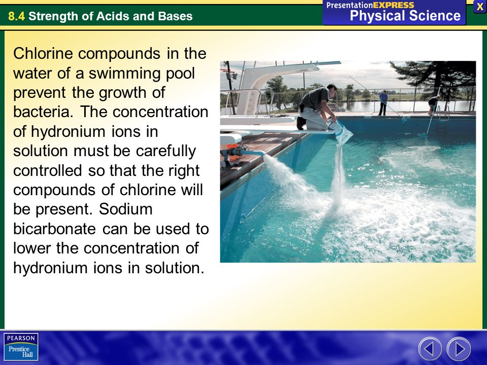 Chlorine compounds in the water of a swimming pool prevent - Swimming pool chlorine concentration ...