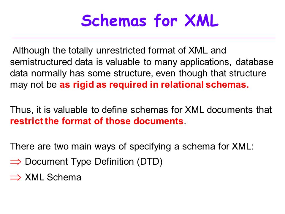 Database systems part vii xml ppt video online download schemas for xml document type definition dtd xml schema pronofoot35fo Gallery