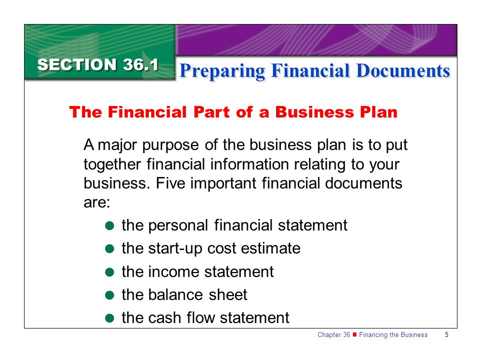 Financial Part Of A Business Plan