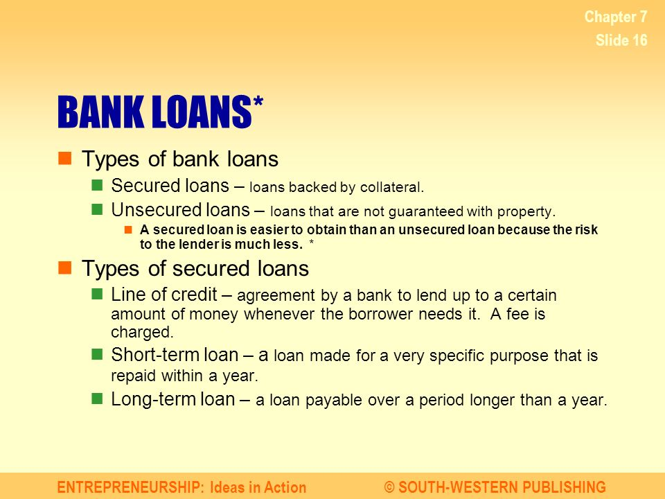 Finance protect and insure your business ppt video for What type of loan to buy land