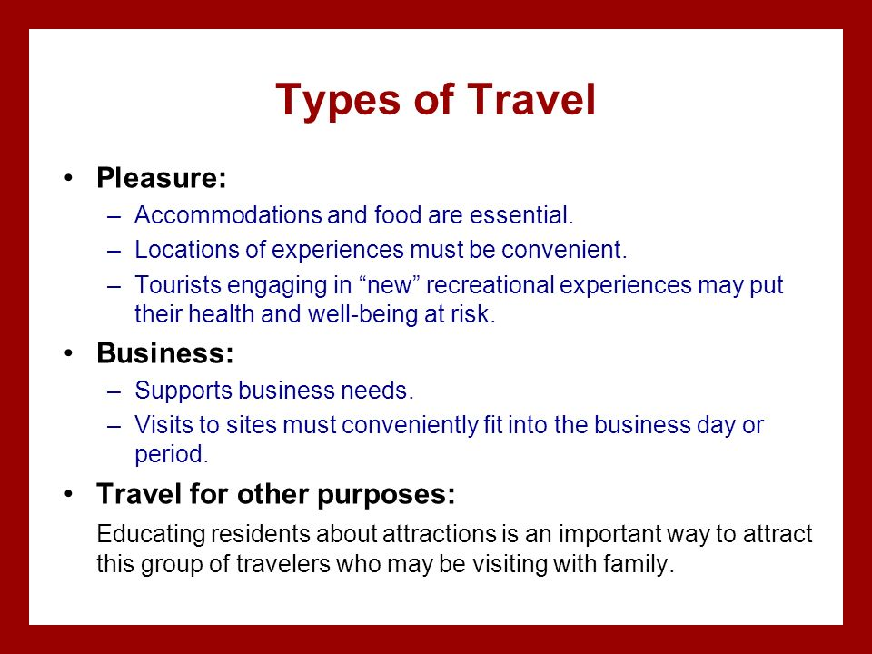 Purposes for travel