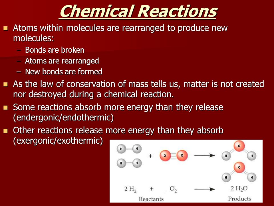 Chemical Reactions Atoms within molecules are rearranged to produce new molecules: Bonds are broken.