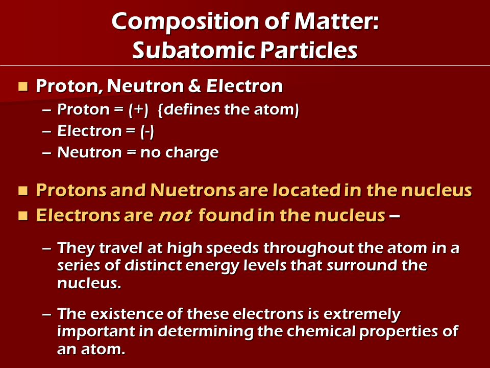 Composition of Matter: Subatomic Particles
