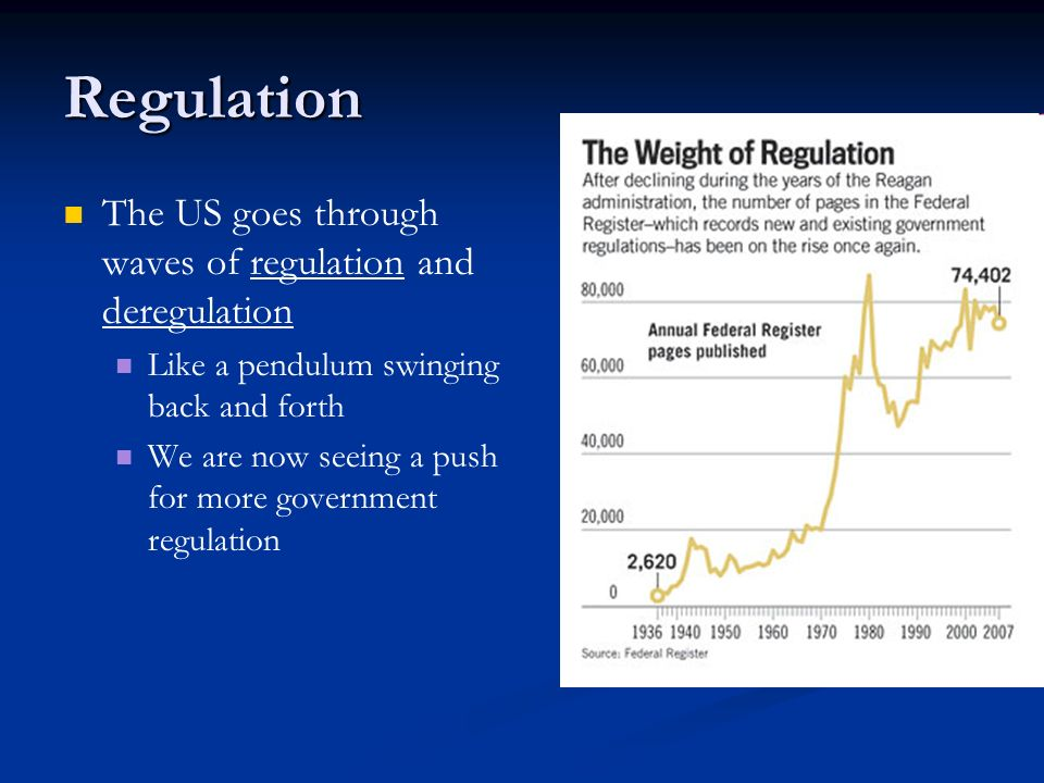 Regulation The US goes through waves of regulation and deregulation
