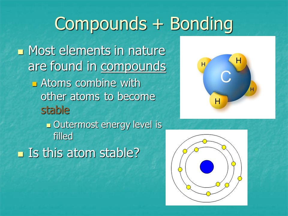Compounds + Bonding Most elements in nature are found in compounds