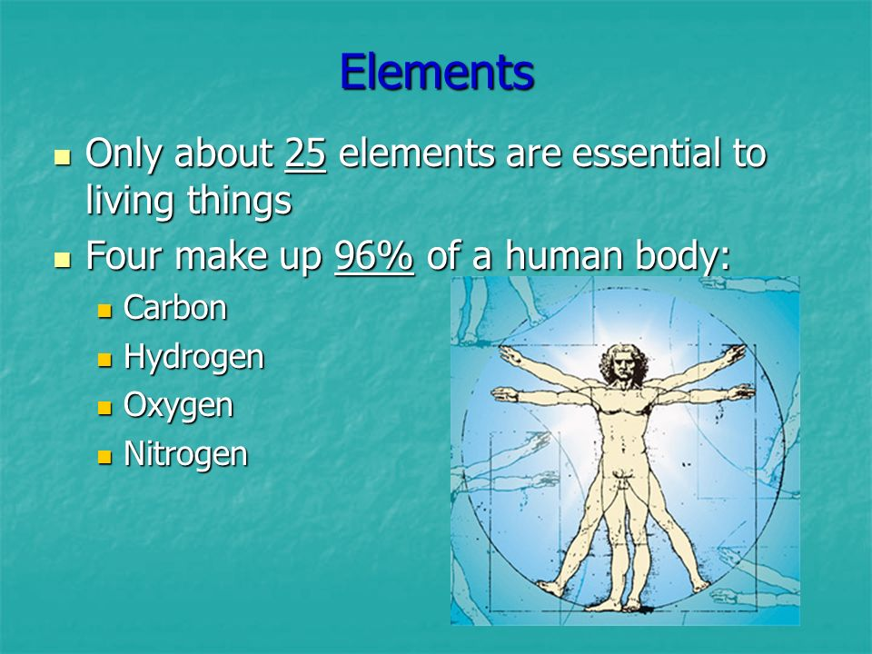 Elements Only about 25 elements are essential to living things