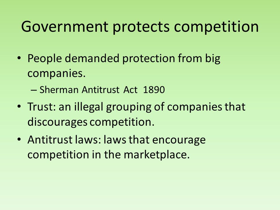 Government protects competition