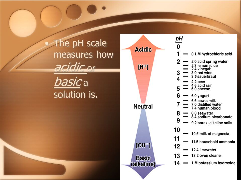 The pH scale measures how acidic or basic a solution is.