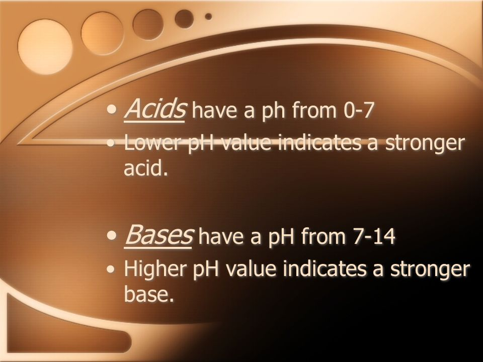 Acids have a ph from 0-7 Bases have a pH from 7-14