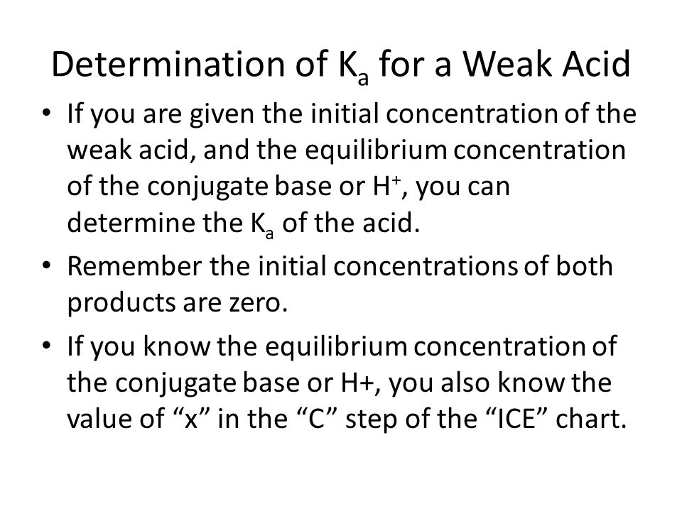 determination of ka for a weak acdi essay I need to find the ka of a weak acid in titration with a strong base can acid concentration be determined from ka values is the ph of weak acid and strong.