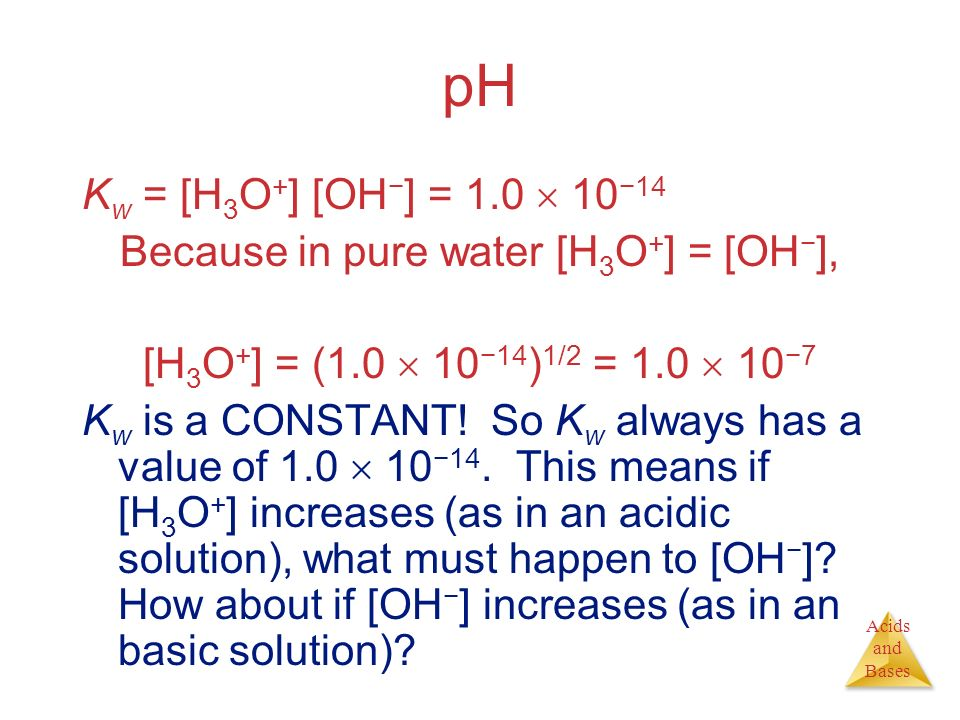 Because in pure water [H3O+] = [OH−],