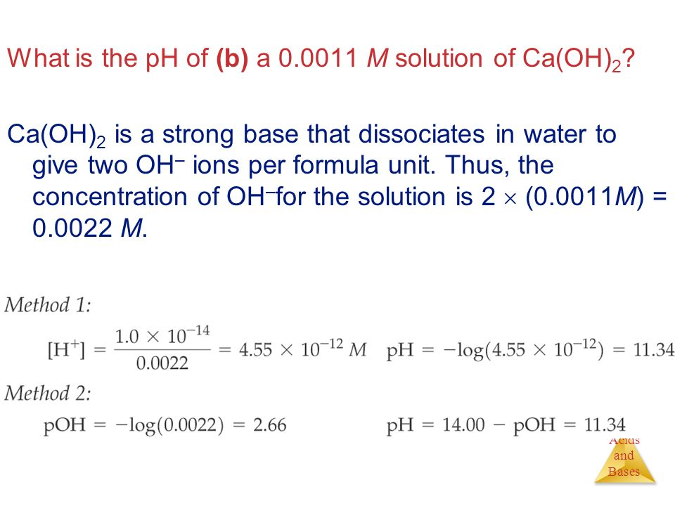 What is the pH of (b) a M solution of Ca(OH)2