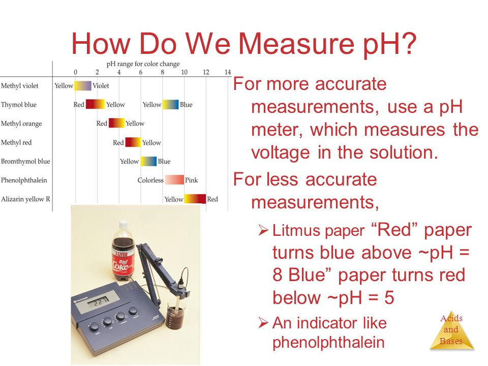 How Do We Measure pH For more accurate measurements, use a pH meter, which measures the voltage in the solution.
