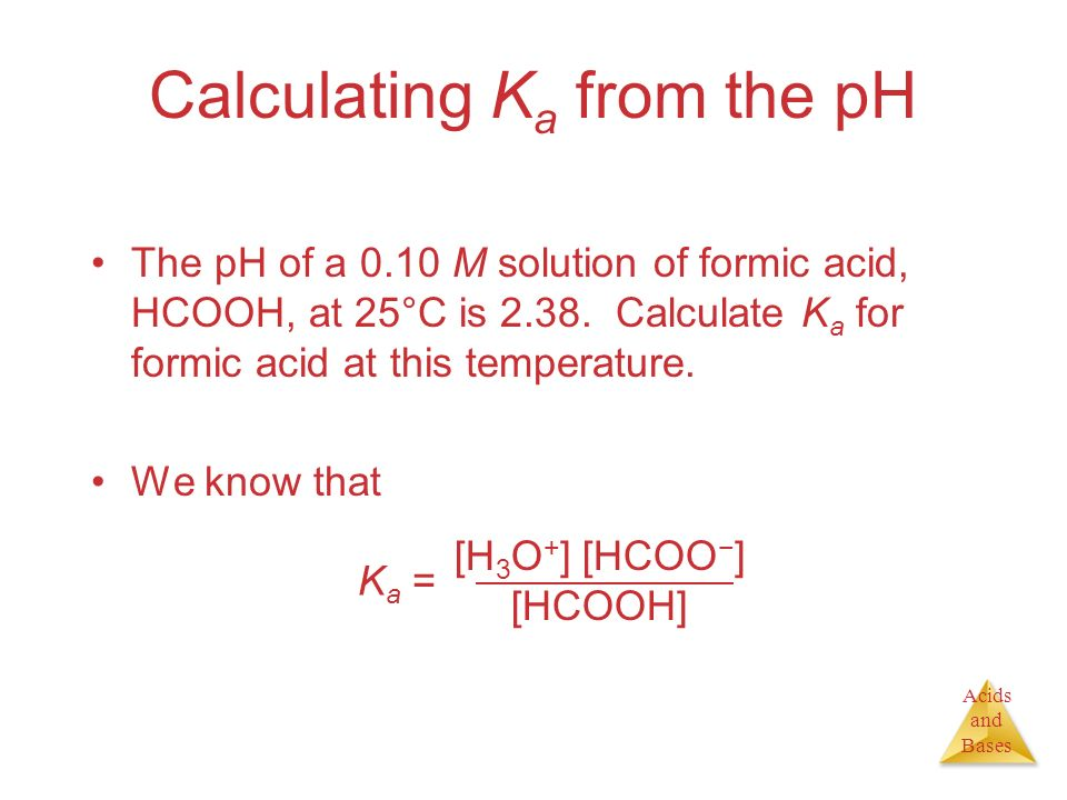 Calculating Ka from the pH