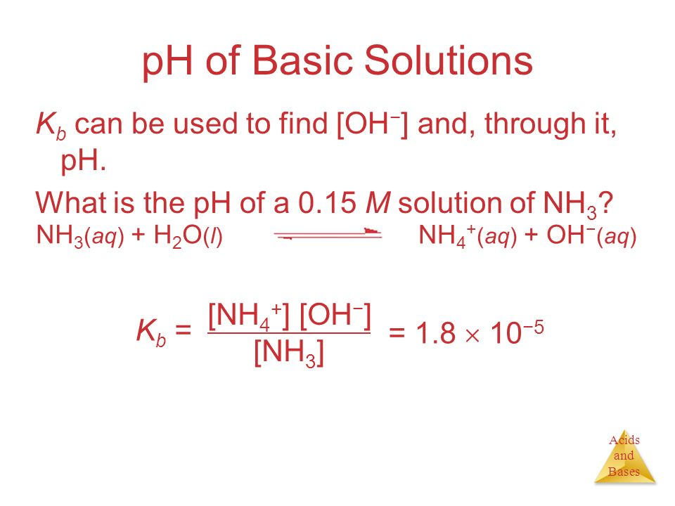 pH of Basic Solutions Kb can be used to find [OH−] and, through it, pH. What is the pH of a 0.15 M solution of NH3