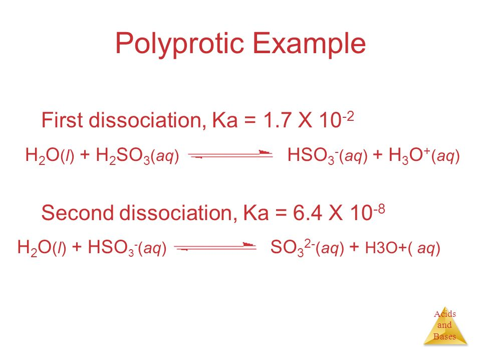 Polyprotic Example First dissociation, Ka = 1.7 X 10-2