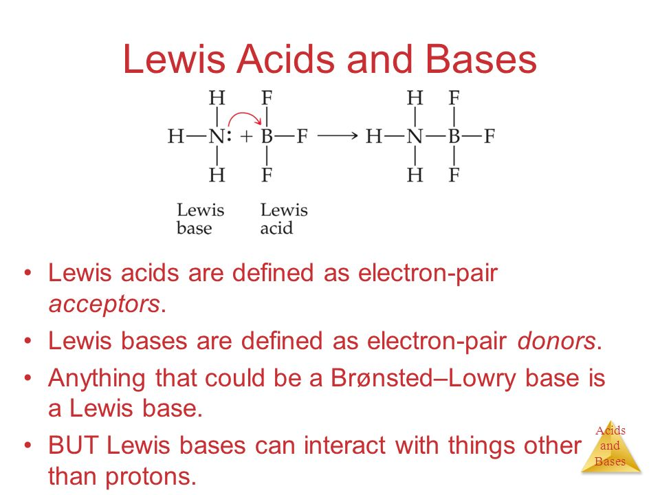 Lewis Acids and Bases Lewis acids are defined as electron-pair acceptors. Lewis bases are defined as electron-pair donors.