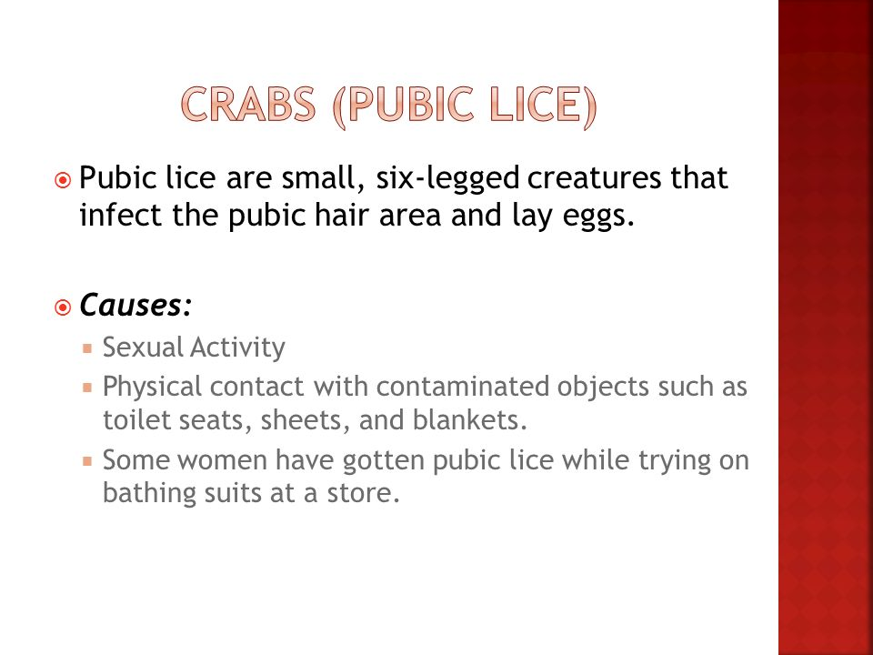 Crabs (Pubic Lice) Pubic lice are small, six-legged creatures that infect the pubic hair area and lay eggs.