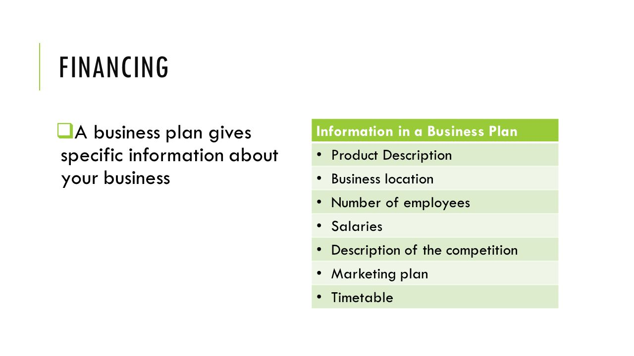Financing A business plan gives specific information about your business. Information in a Business Plan.
