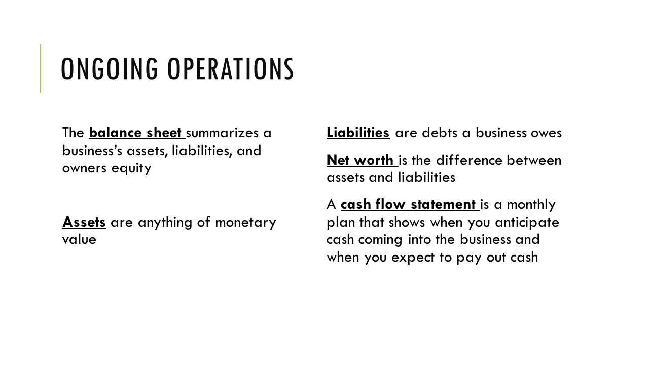 Ongoing operations The balance sheet summarizes a business's assets, liabilities, and owners equity.