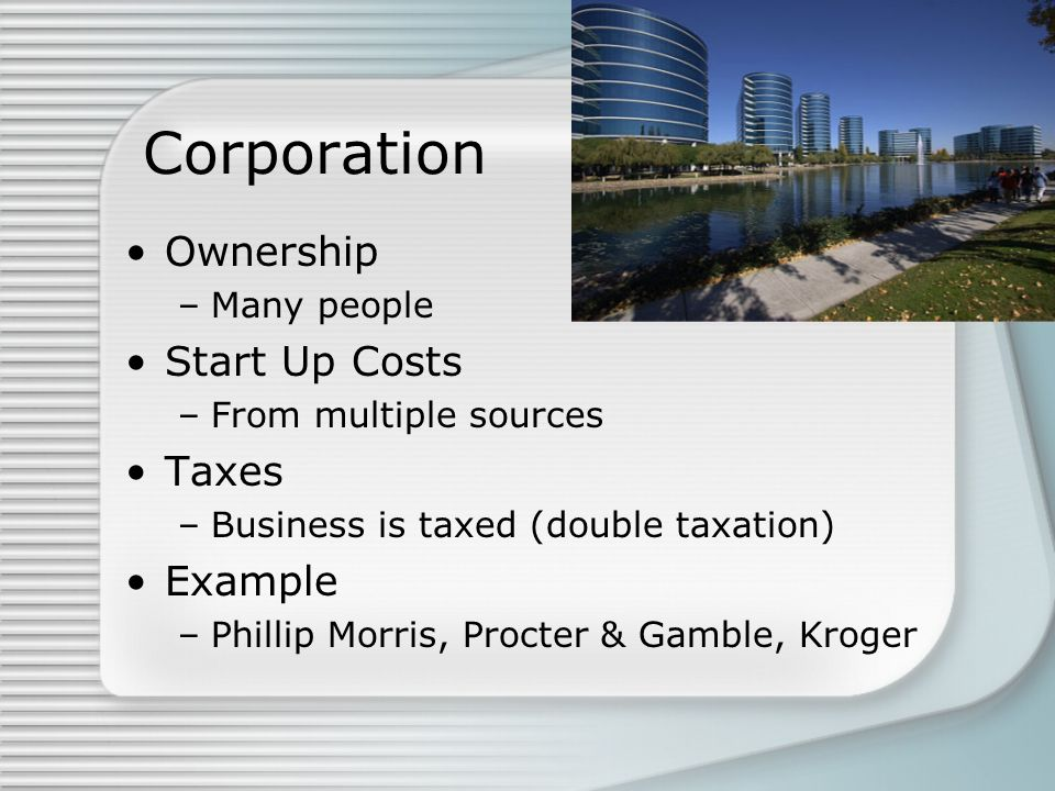Corporation Ownership Start Up Costs Taxes Example Many people