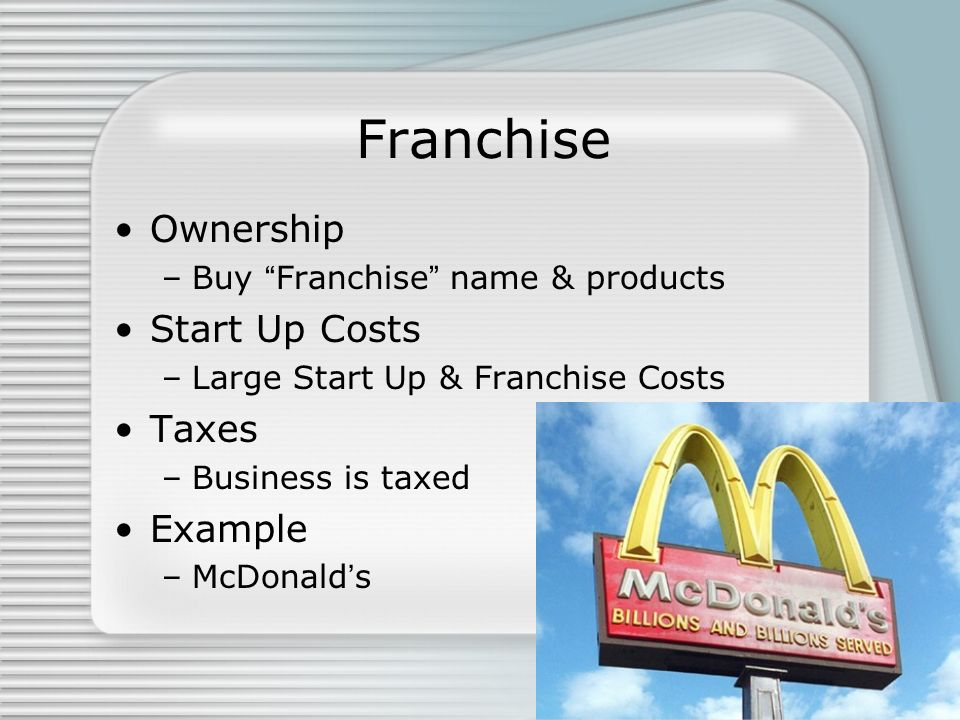 Franchise Ownership Start Up Costs Taxes Example