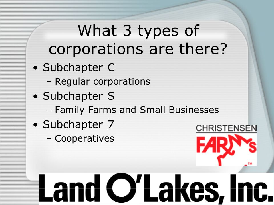 What 3 types of corporations are there