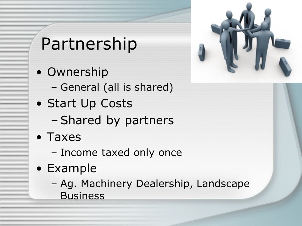 Partnership Ownership Start Up Costs Shared by partners Taxes Example