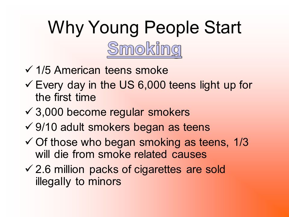 an analysis of teenagers smoking for the first time 1 teen smoking: an overview 9 susan dominus 2 teen smoking is a serious problem 15 bruce epstein 3 antismoking efforts should target both adults 18 and teens mike a males 4 laws to prevent youth access to cigarettes are ineffective 28 pm ling, a landman, and sa glantz 5 antismoking campaigns make smoking more attractive 33 to teens mark bowden 6.