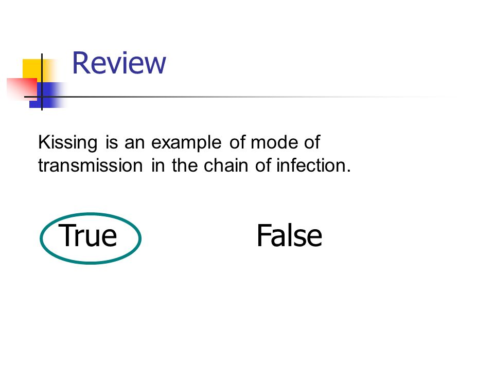 Review Kissing is an example of mode of transmission in the chain of infection. True False