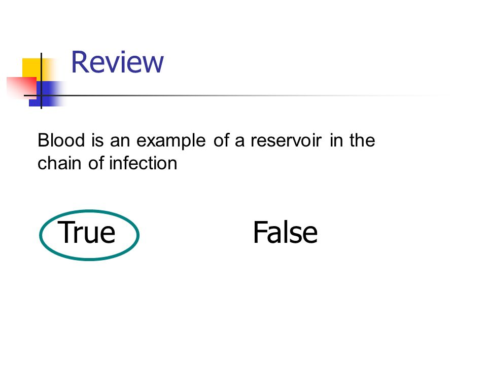 Review Blood is an example of a reservoir in the chain of infection True False
