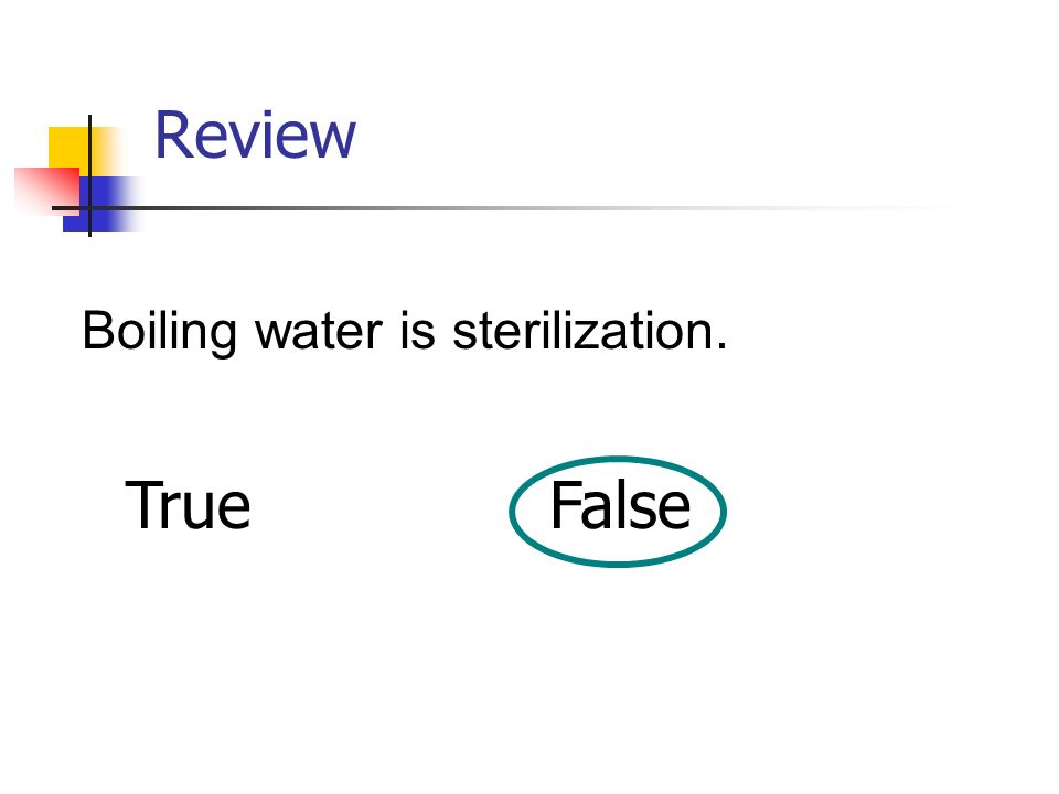 Review Boiling water is sterilization. True False