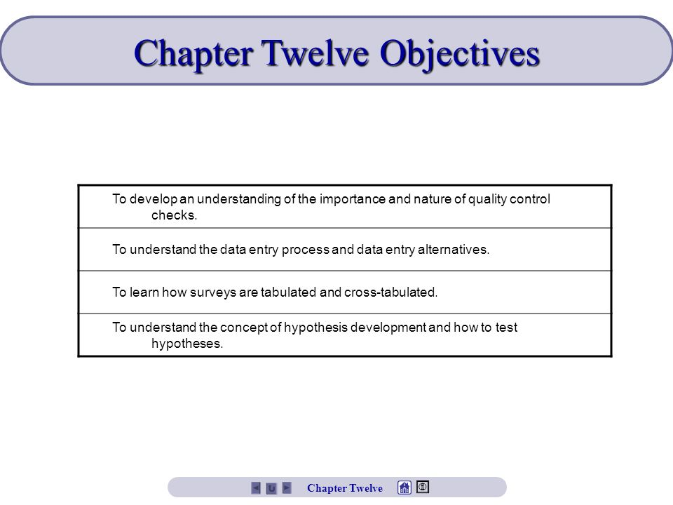 Chapter Twelve Objectives