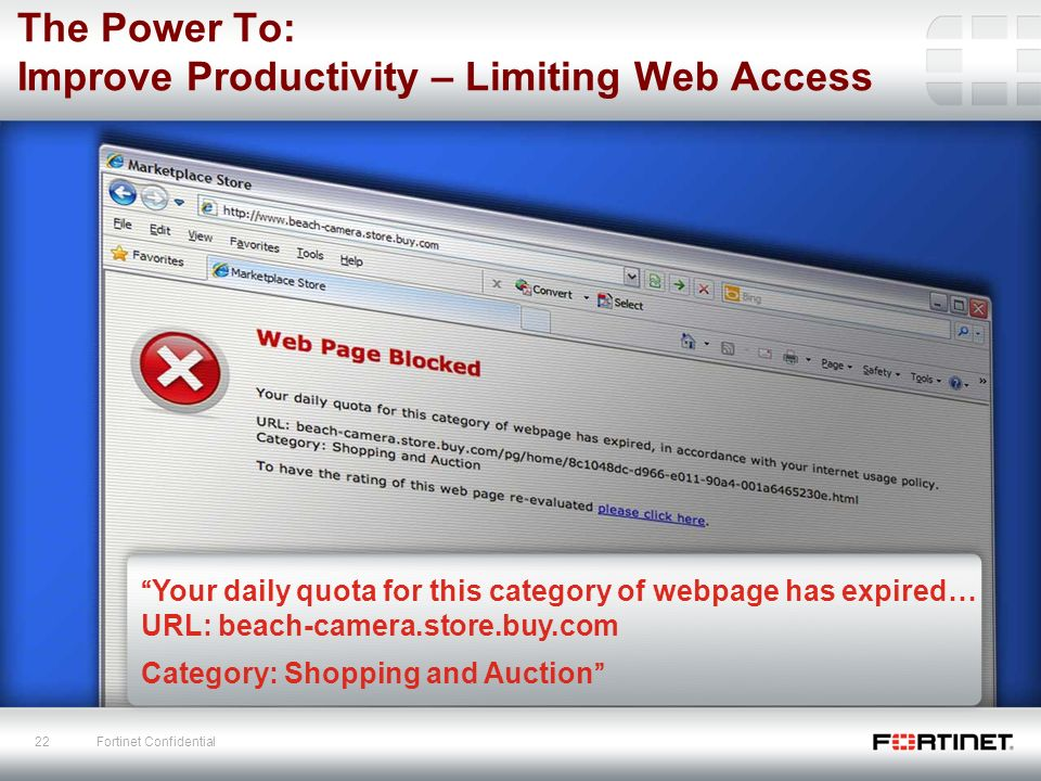 Fortinet an introduction ppt download the power to improve productivity limiting web access ccuart Gallery