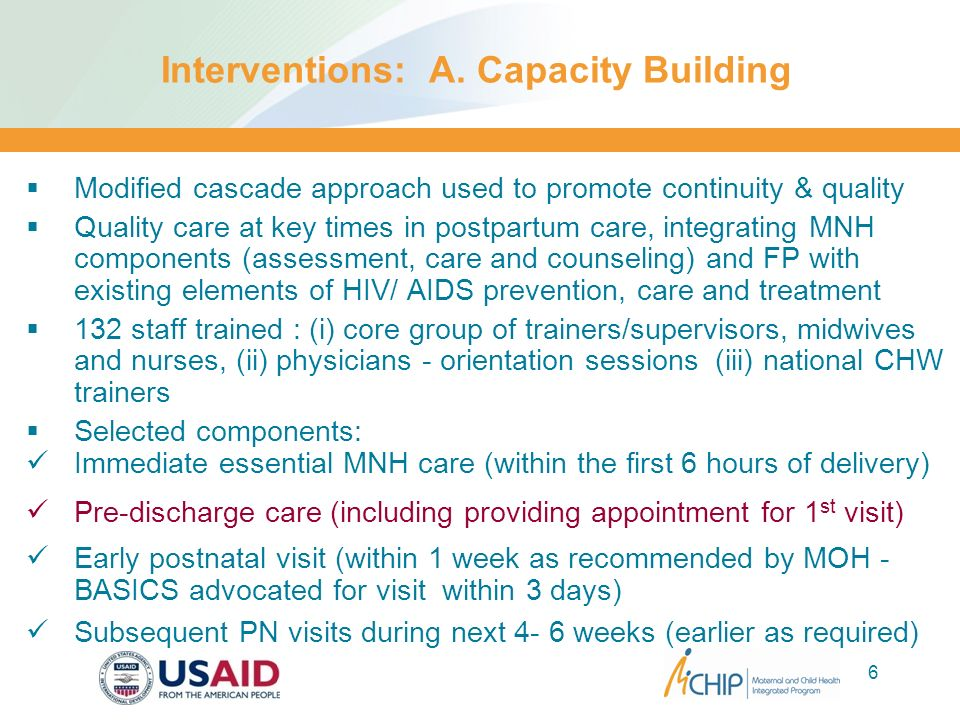Interventions: A. Capacity Building