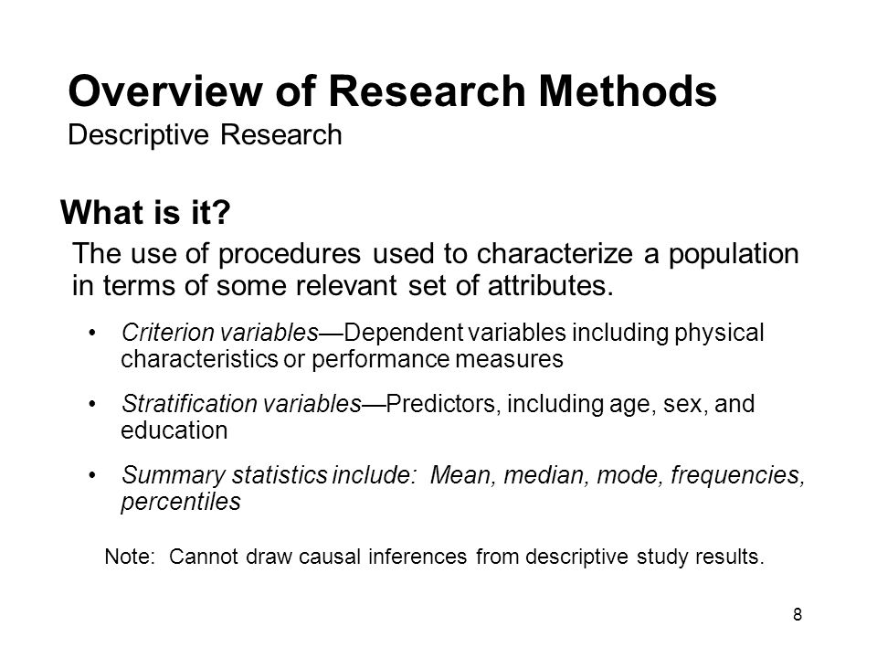 "define descriptive research methods Chapter 3 research design and methodology define a research design as ""a blueprint for conducting a descriptive research ""is designed to provide a."