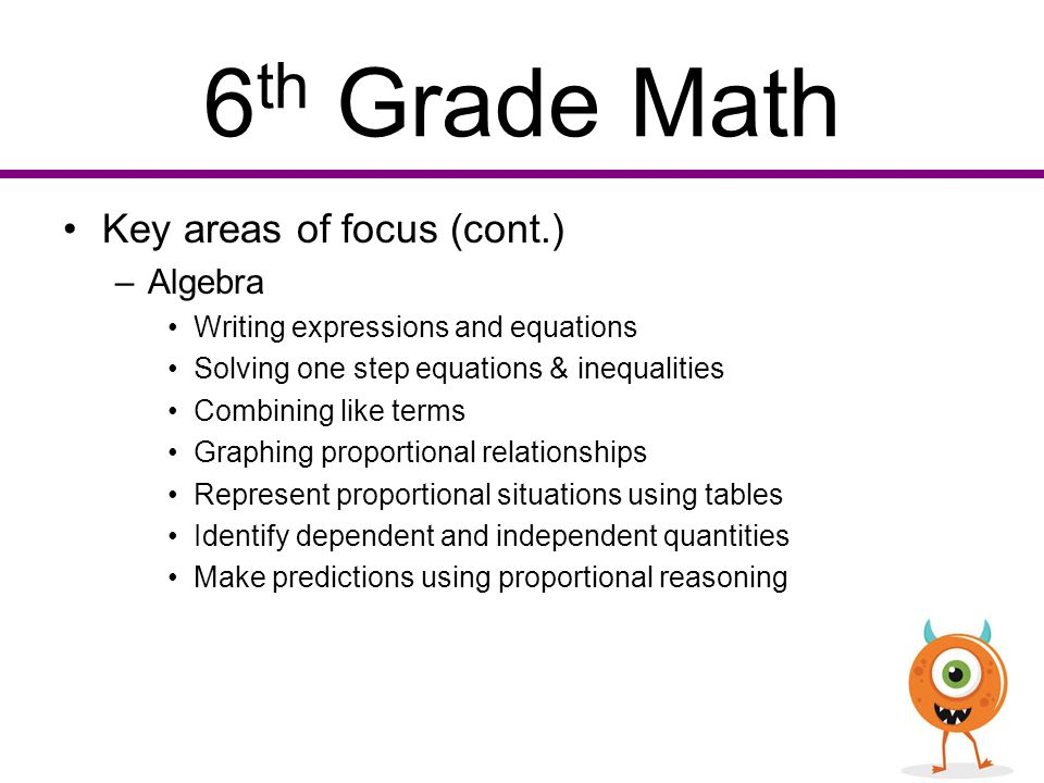 Algebra worksheets for 6th grade students