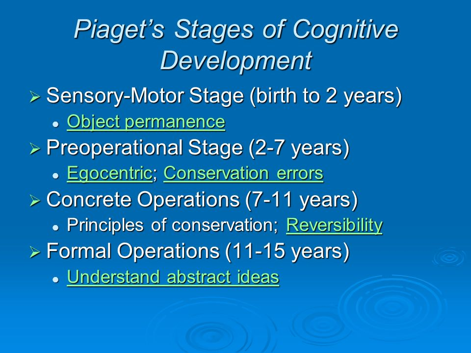 piagets stages of cognitive development The preoperational stage follows the sensory motor stage, making it the second stage of piaget's cognitive development theory the stage occurs in a child around the age of two and lasts until about the age of seven.