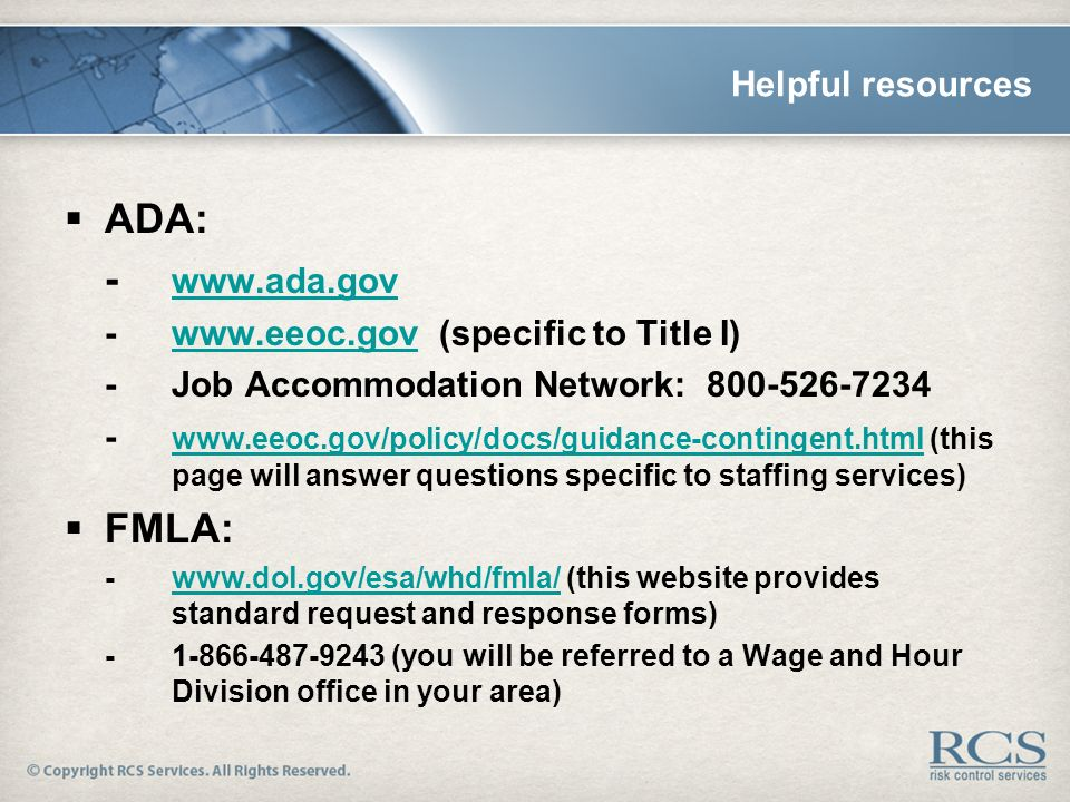 ADA and FMLA in the Staffing Industry - ppt video online download