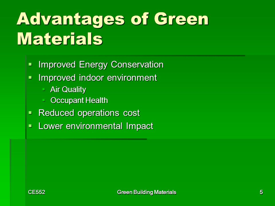 Low cost green building materials selection ppt video for Green building resources