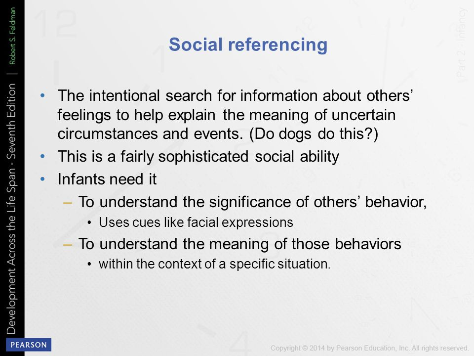 social referencing and synchrony infants Child development, 9/e laura e berk infants and toddlers pick up not only verbal information social referencing.