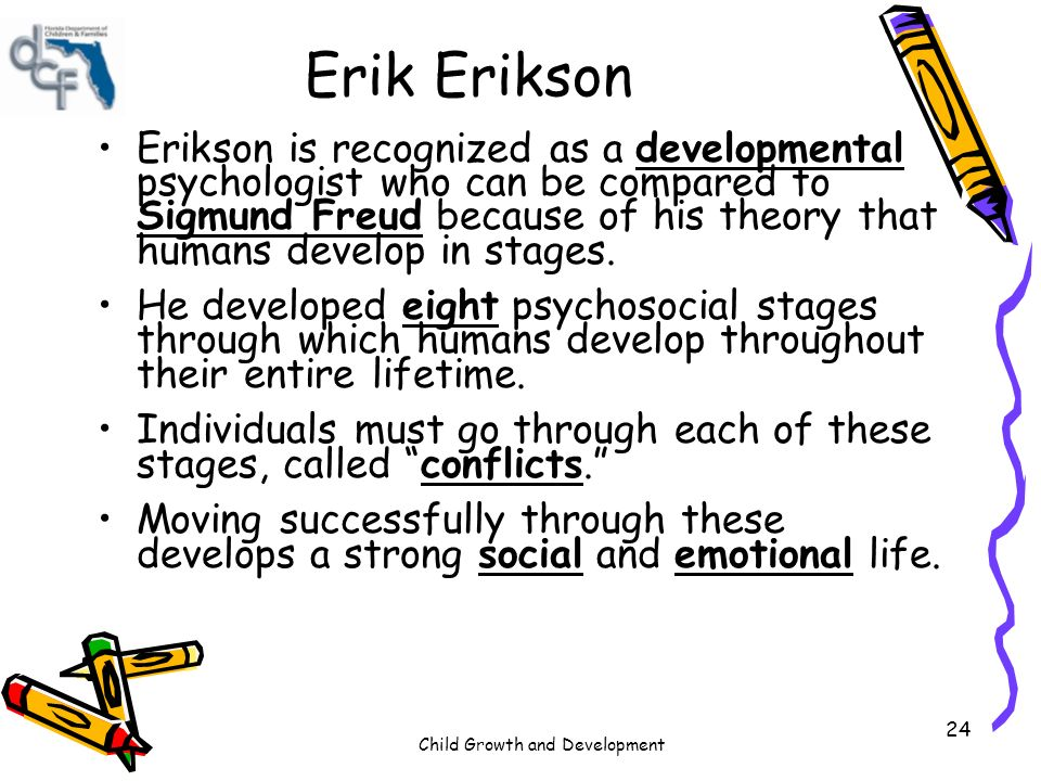 comparison of works by sigmund freud and erik erikson Erik erikson  inferiority age 6 to 11 years child enters school and begins  learning child works to acquire adult skills child learns how to  sigmund  freud.