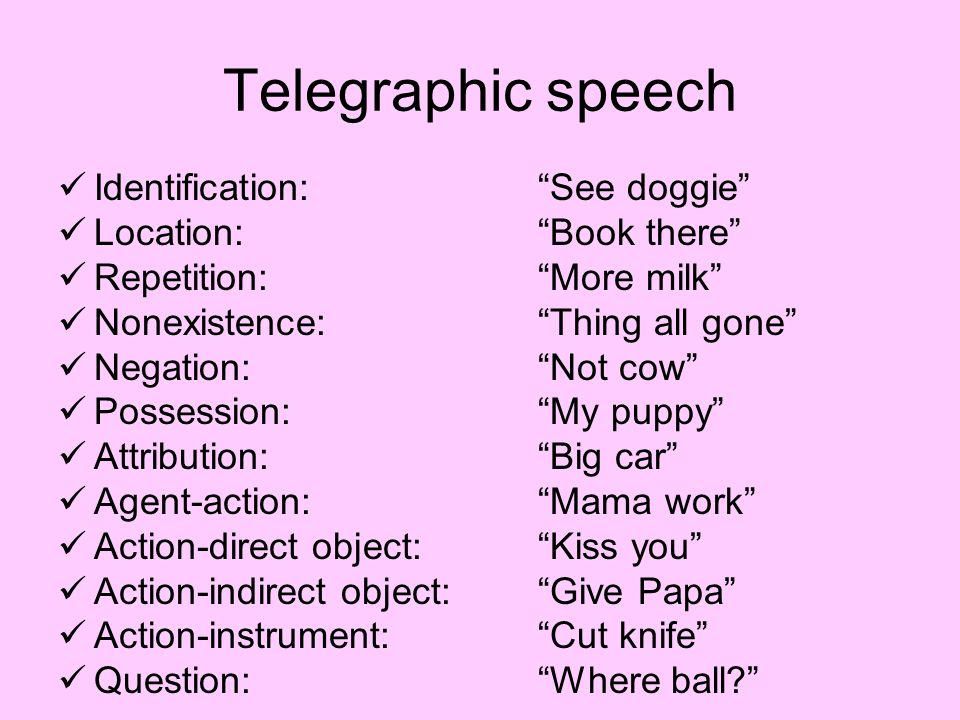 Example Of Telegraphic Speech - Ex