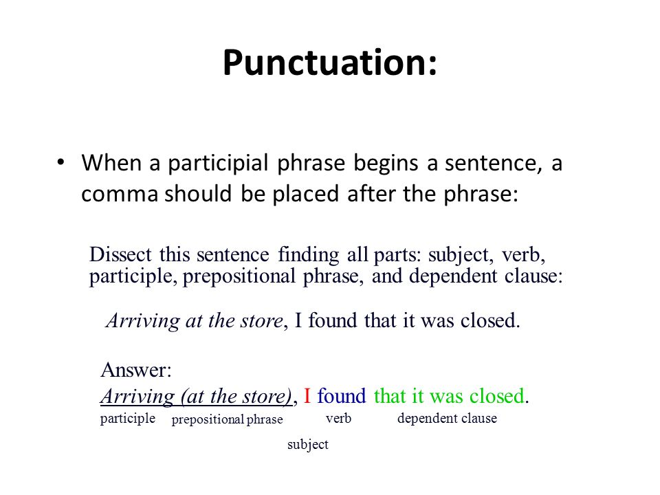 Punctuation: When a participial phrase begins a sentence, a comma should be placed after the phrase: