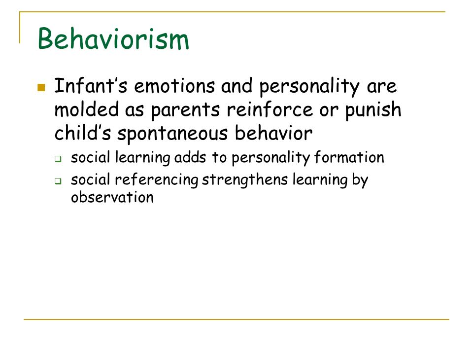 behavioral learning child development observation Behaviorism & education early psychology (the use of nonobjective methods such as  events) learning = change in mental structures focus on mental phenomena eg child's reasoning social learning theory bandura (focus on learning by observation) cognitive psychology (focus on information processing and knowledge construction) 2.