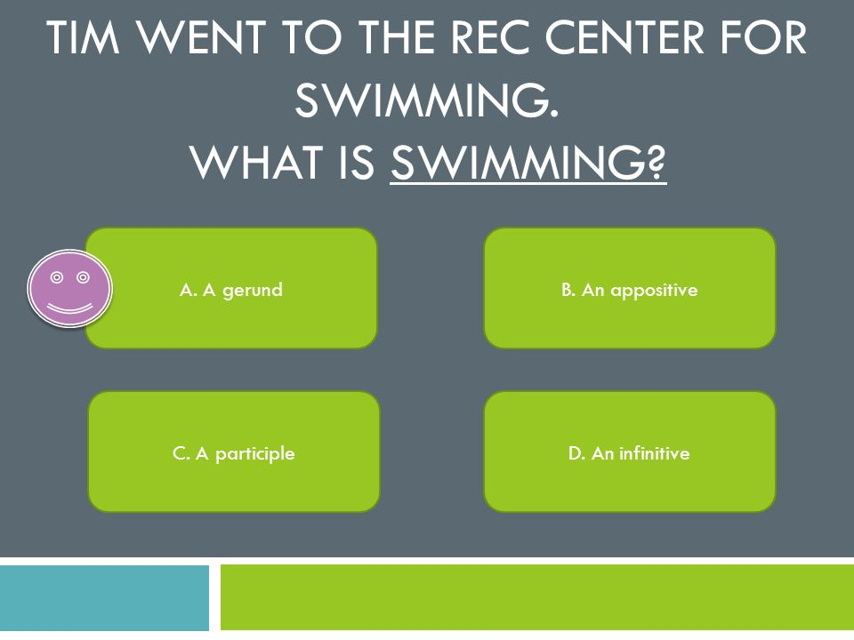 Tim went to the rec center for swimming. What is swimming