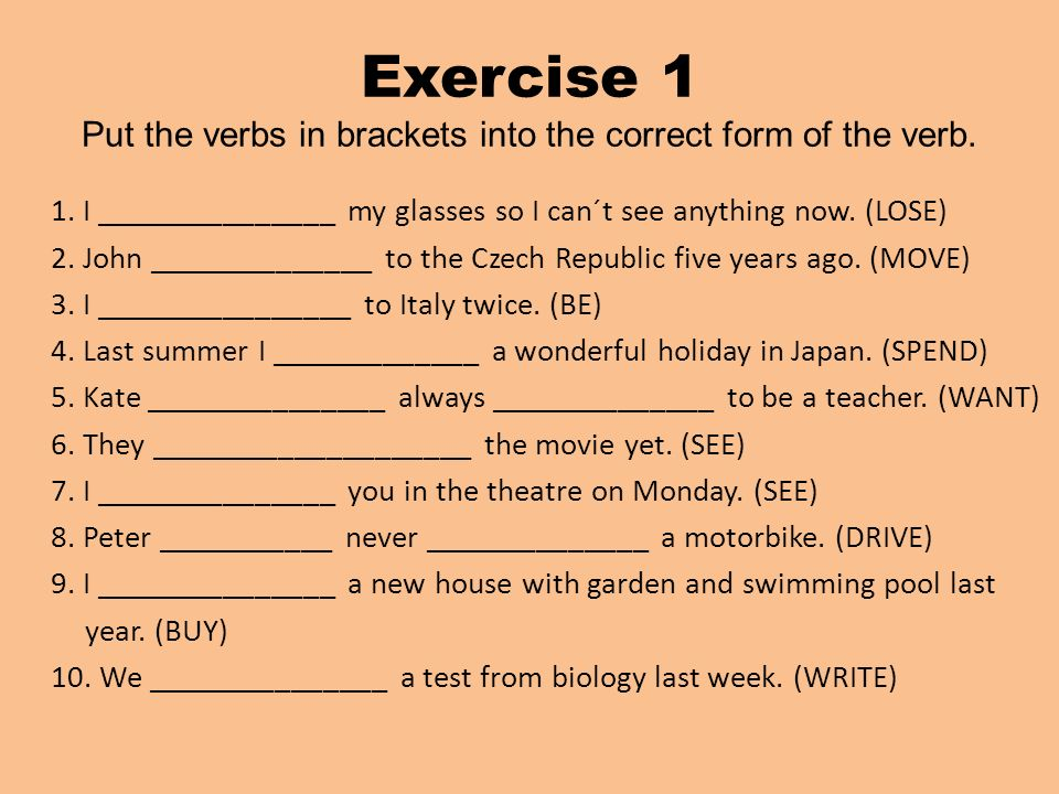correct form of verb exercises pdf