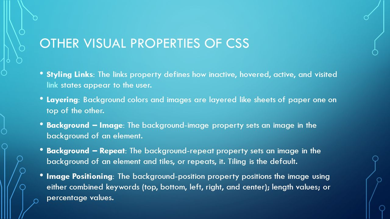 Background image css properties - Other Visual Properties Of Css