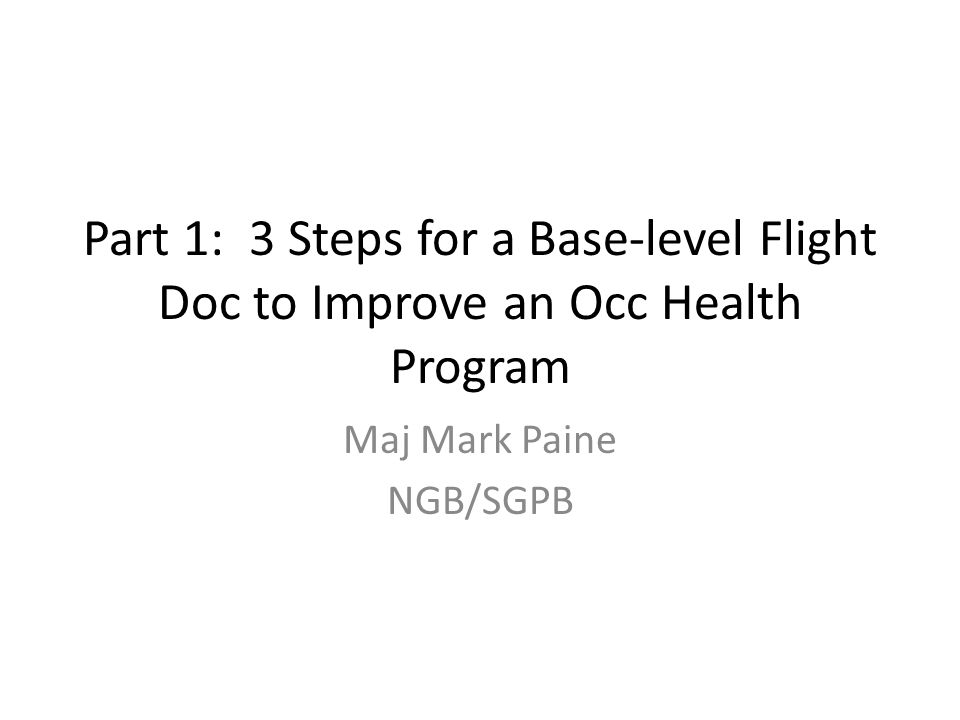 Maj Mark Paine NGB/SGPB