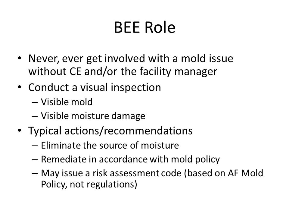 BEE Role Never, ever get involved with a mold issue without CE and/or the facility manager. Conduct a visual inspection.